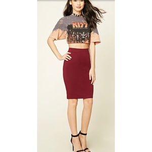 Burgundy Knee Length Skirt